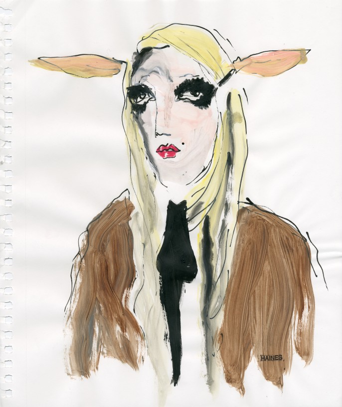 Patti Spliff as a Faun Faune. Encre de Chine et acrylique sur papier.