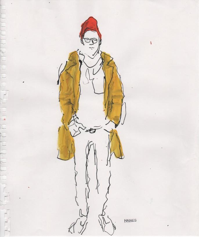 Me in a Yellow Coat. Encre de Chine et acrylique sur papier. Richard Haines. Courtesy Huberty Breyne