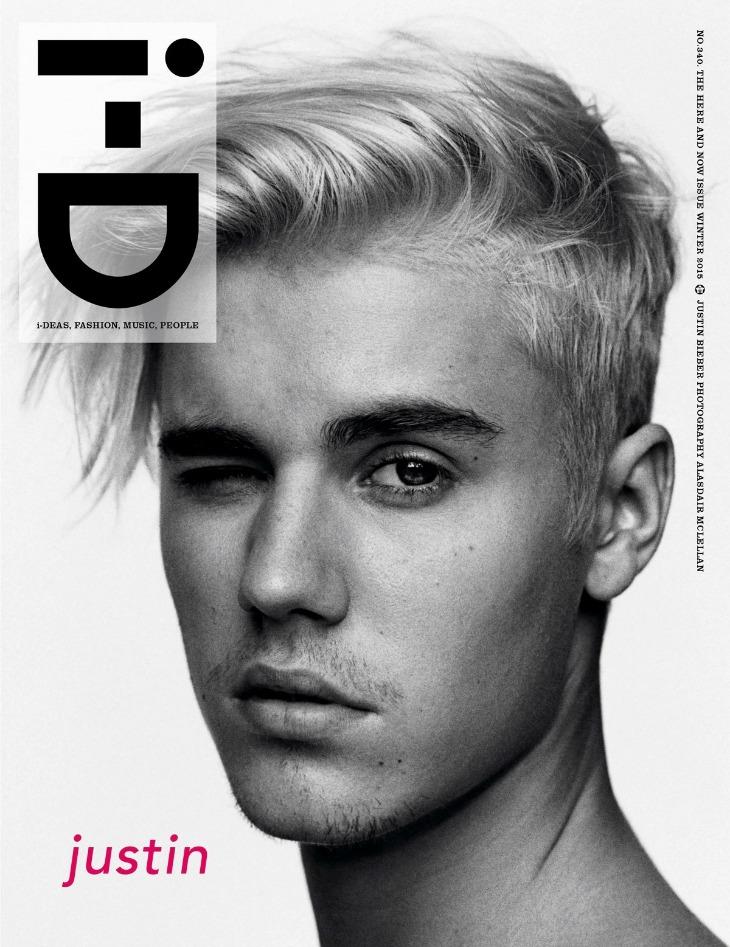 Justin shooté en couverture d'ID Magazine par Alasdair McLellan